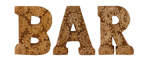 Hand Carved Wooden Flower Letters Bar Shipping furniture UK