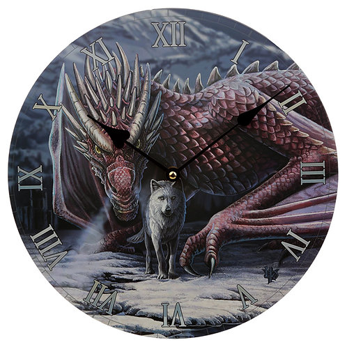 Decorative Dragon and Wolf Alliance Lisa Parker Wall Clock Novelty Gift