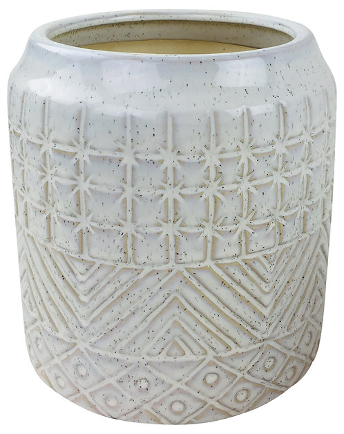 White Star Textured Stoneware Planter 20cm Shipping furniture UK