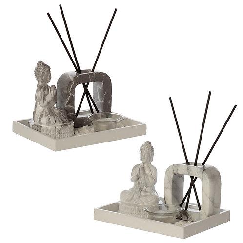 Eden Aroma Set Meditating Buddha Tea Light Holder & Reed Holder Novelty Gift
