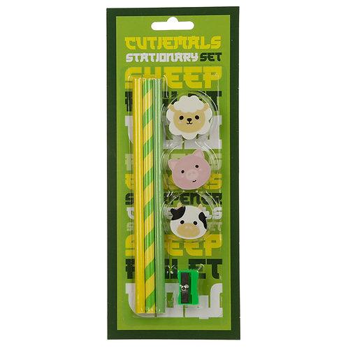 Cutiemals Farm 7 Piece Stationery Set Novelty Gift