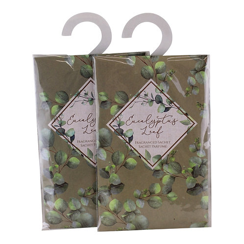 Set of 2 Eucalyptus Leaf Fragranced Sachets, 20gm Shipping furniture UK
