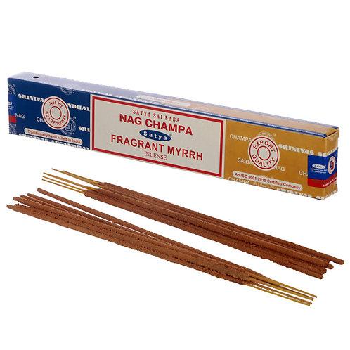 Satya Incense Sticks - Nag Champa & Fragrant Myrrh Novelty Gift