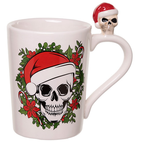 Jingle Bones Skull on Handle Christmas Ceramic Mug Novelty Gift