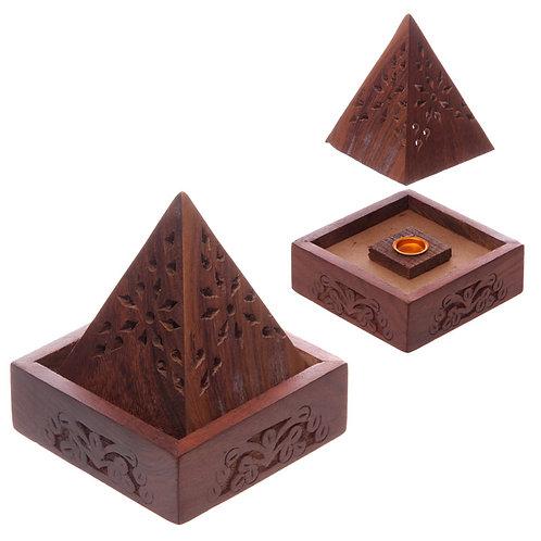 Pyramid Sheesham Wood Incense Cone Box with Fretwork Novelty Gift