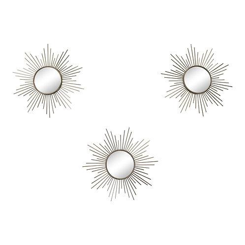 Set of 3 Gold Metal Sunburst Accent Mirrors Shipping furniture UK