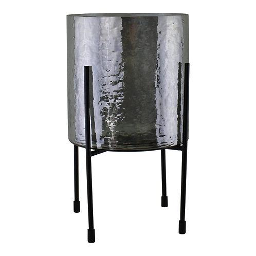 Grey Glass Candle Lantern On Stand, Large Shipping furniture UK