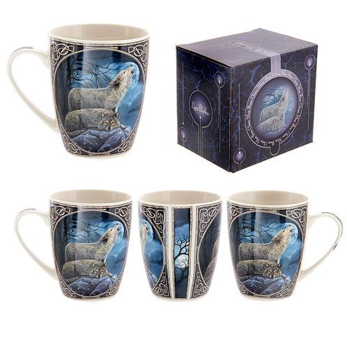 Fantasy Howling Wolf Design Porcelain Mug Novelty Gift