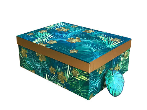 Blue & Gold Leaf Gift/Storage Box Gold Rim M Shipping furniture UK