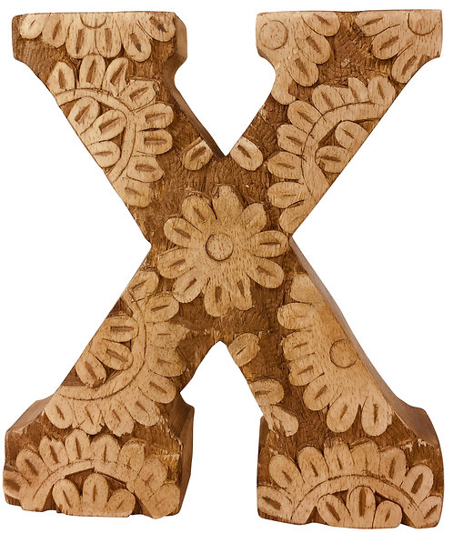 Hand Carved Wooden Flower Letter X Shipping furniture UK