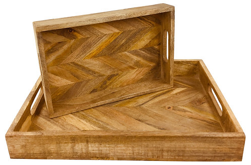 Herringbone Square Wood Rustic Trays Set of 2 Shipping furniture UK
