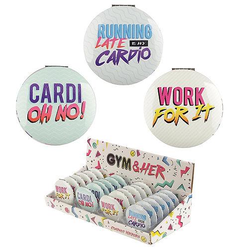 Novelty Gift Retro Gym Slogan Compact Mirror