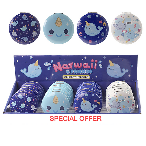 Novelty Gift Fun Collectable Narwhal Design Compact Mirror