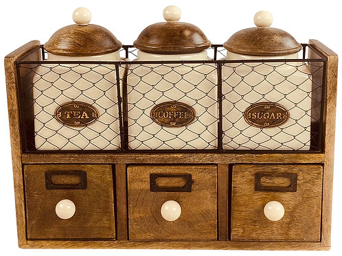 Wooden Cabinet With 3 Jars & Drawers Shipping furniture UK