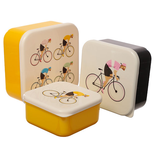 Cycle Works Bicycle Set of 3 Plastic Lunch Boxes (M/L/XL) Novelty Gift