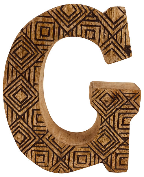 Hand Carved Wooden Geometric Letter G Shipping furniture UK
