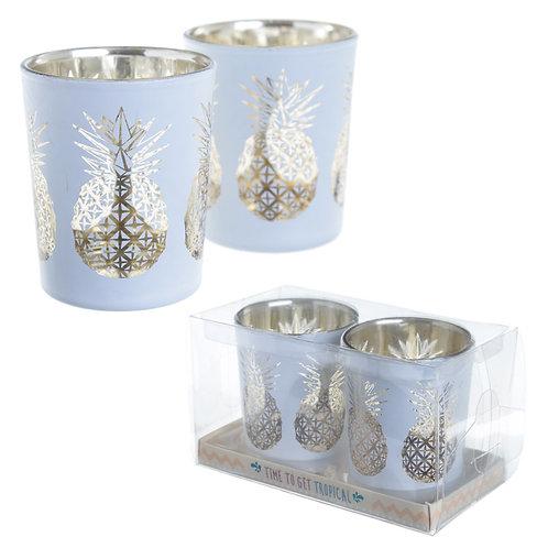 Glass Candleholder Set of 2 - Tropical Fruit Design Novelty Gift