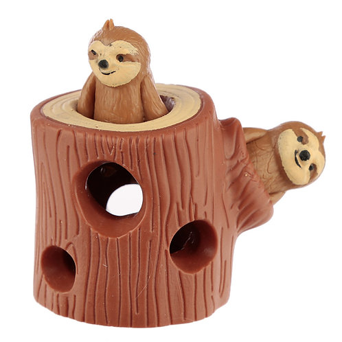 Novelty Fun Kids Squeezy Hide and Seek Sloth Toy Gift