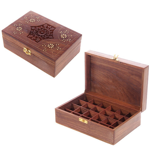 Decorative Sheesham Wood Floral Compartment Box Large Novelty Gift