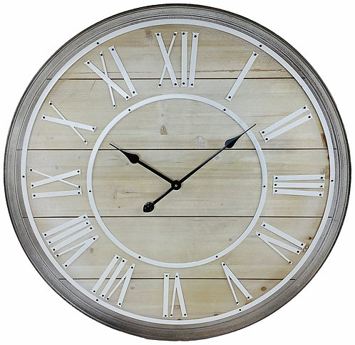 Wooden Wall Clock With White Roman Numerals 80cm Shipping furniture UK