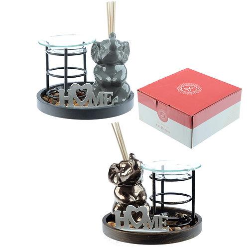 Eden Aroma Set - Metal Oil Burner & Ceramic Elephant Diffuser [ONE] Novelty Gift