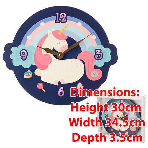 Novelty Children Unicorn Shaped Wall Clock Gift