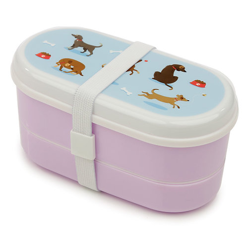 Bento Lunch Box with Fork & Spoon - Catch Patch Dog Novelty Gift