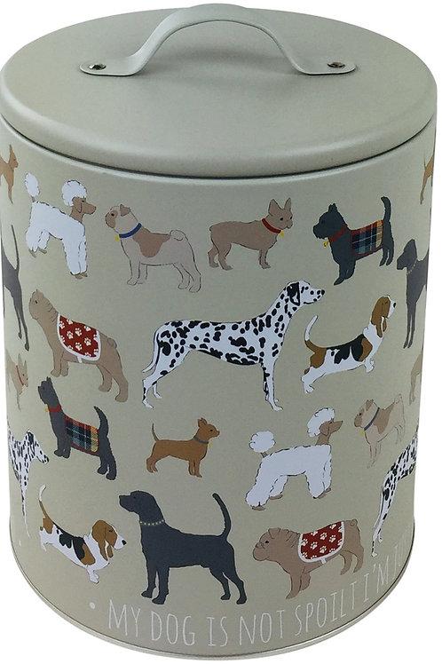 Dog Print Storage Tin 22cm Shipping furniture UK