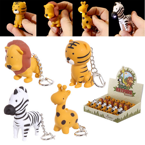 Novelty LED Zoo Designs Key Rings with Sound Novelty Gift