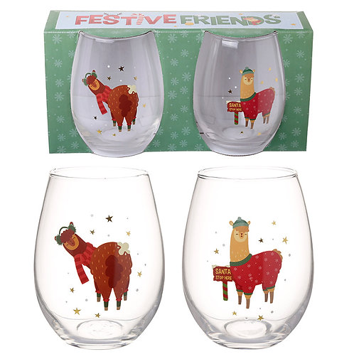 Christmas Drinking glasses Alpaca Glass Tumbler Set of 2