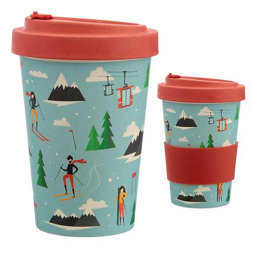 Bamboo Composite Peak Season Ski Screw Top Travel Mug Novelty Gift
