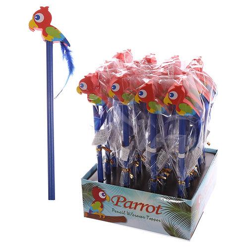Novelty Kids Parrot Design Pencil and Eraser Novelty Gift [Pack of 2]