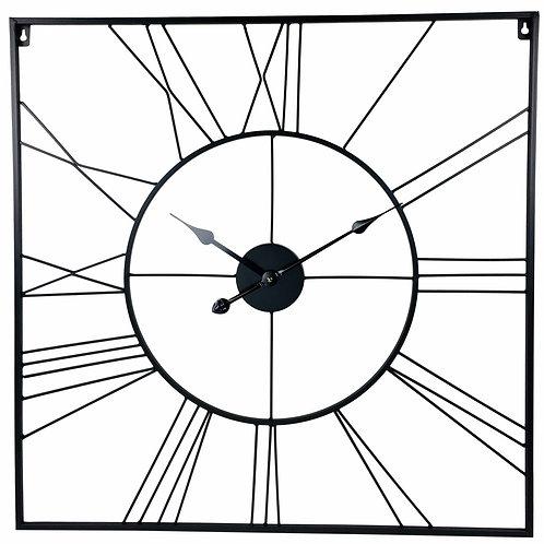 Square Black Roman Numeral Metal Wall Clock 80cm Shipping furniture UK