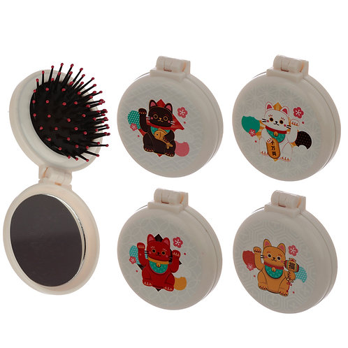 Fun Lucky Cat Maneki Neko Foldable Travel Hair Brush Novelty Gift