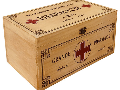 Vintage Style Wooden Pharmacie Box 30cm Shipping furniture UK