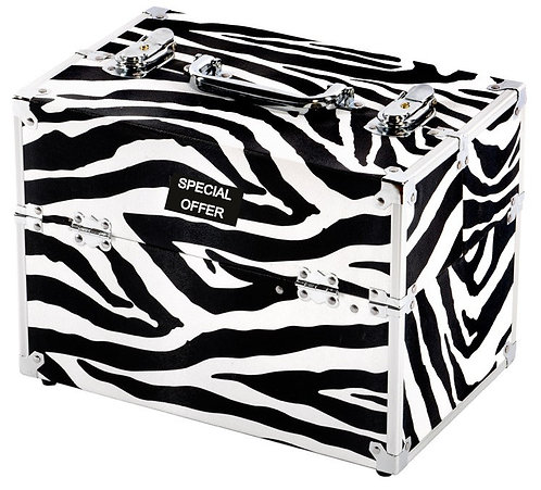 Vanity Case / Makeup Box Silver / Zebra Shipping furniture UK