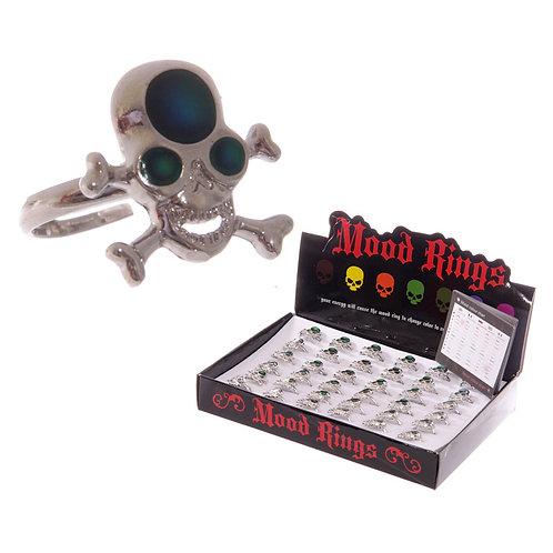 Fun Skull and Cross Bone Mood Rings Novelty Gift