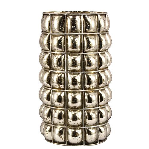 Large Antiqued Silvered Blown Glass Pillar Vase Shipping furniture UK