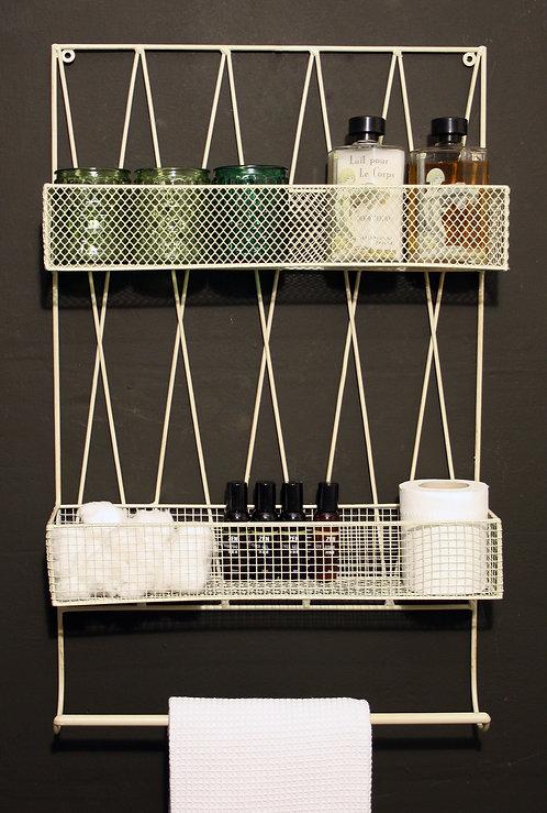 Diamond Wall Shelf With Rail Cream Shipping furniture UK