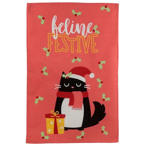 Christmas Cat Festive Feline Poly Cotton Tea Towel Novelty Gift