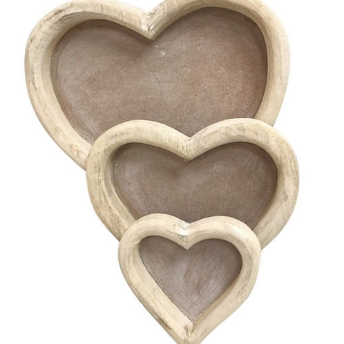 Three Wooden Heart Trays Shipping furniture UK