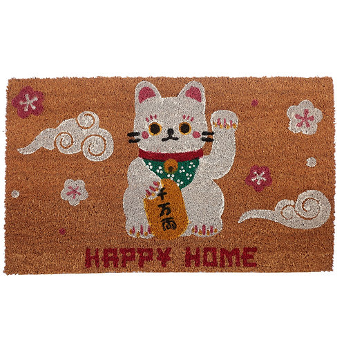 Coir Door Mat - Lucky Cat Maneki Neko Novelty Gift