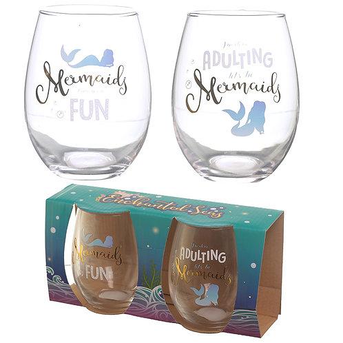 Mermaid Slogan Metallic Glass Tumbler Set of 2 Novelty Gift