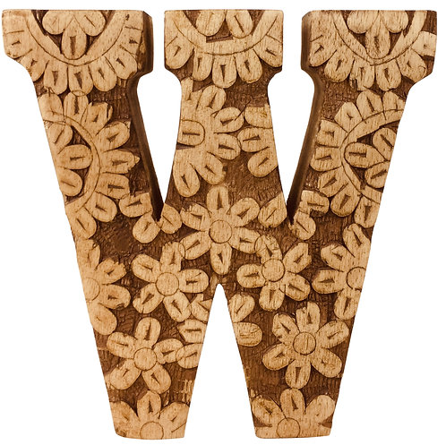 Hand Carved Wooden Flower Letter W Shipping furniture UK