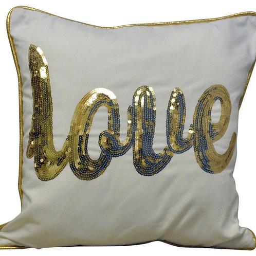 Gold Love Cushion 45cm Shipping furniture UK
