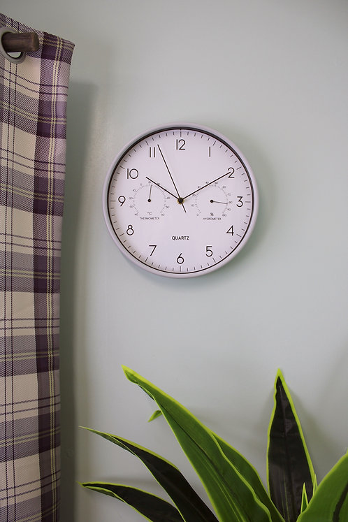 Grey Wall Clock 30cm with Thermometer/Hygrometer Shipping furniture UK