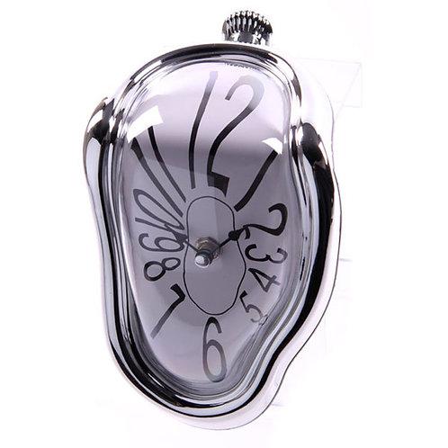 Silver Framed Novelty Melting Shelf Clock