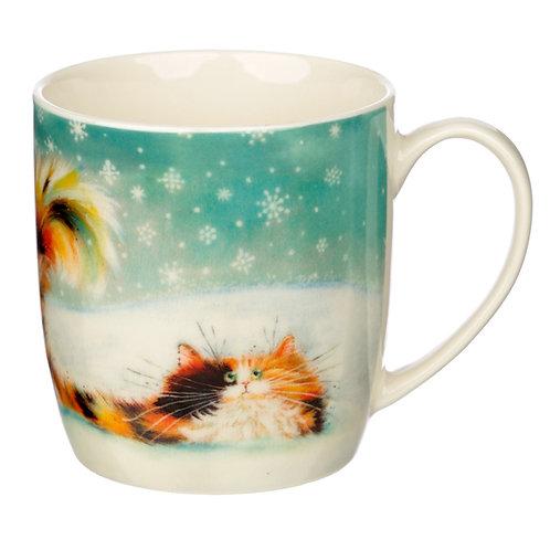 Christmas Porcelain Mug - Kim Haskins Ginger Cat Novelty Gift
