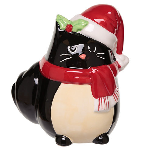 Collectable Ceramic Feline Festive Cat Christmas Money Box Novelty Gift