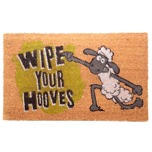 Coir Door Mat - Shaun the Sheep Wipe Your Hooves Novelty Gift